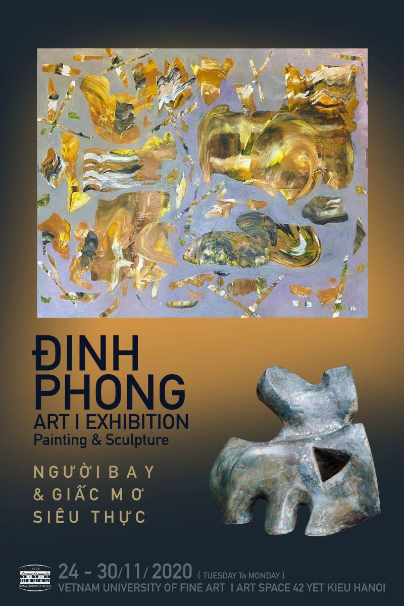 """Những khối màu uốn lượn trong triển lãm """"Người bay và giấc mơ siêu thực"""" của họa sĩ Đinh Phong"""