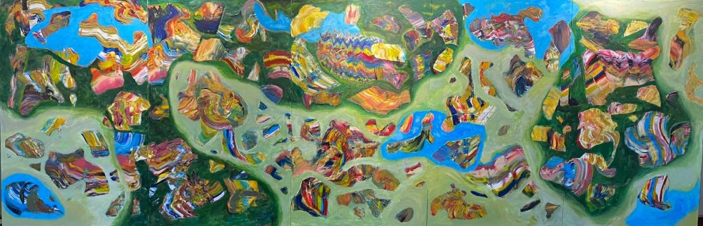 Một tác phẩm tranhkhổ lớn của họa sĩ Đinh Phong vừa hoàn thành trong đợt giãn cách xã hội Covid - 19. Chuẩn bị cho đợt triển lãm thứ3 của anh cùngĐiêukhắc gia Đào Châu Hảitại Hà Nội dự kiến vào cuối năm 2021.(Ảnh: Đông Dương)